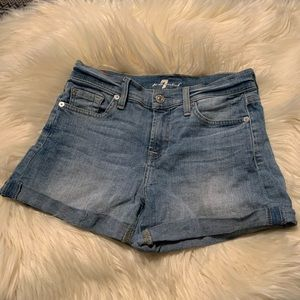 7 For All mankind jean mid rise jean shorts.